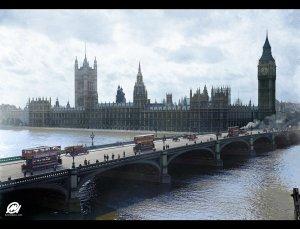 Westminster Bridge with trams, London, 1918-1919
