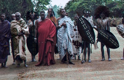 Angoni Warriors at King George Vs Coronation celebrations, Zomba, 1911.