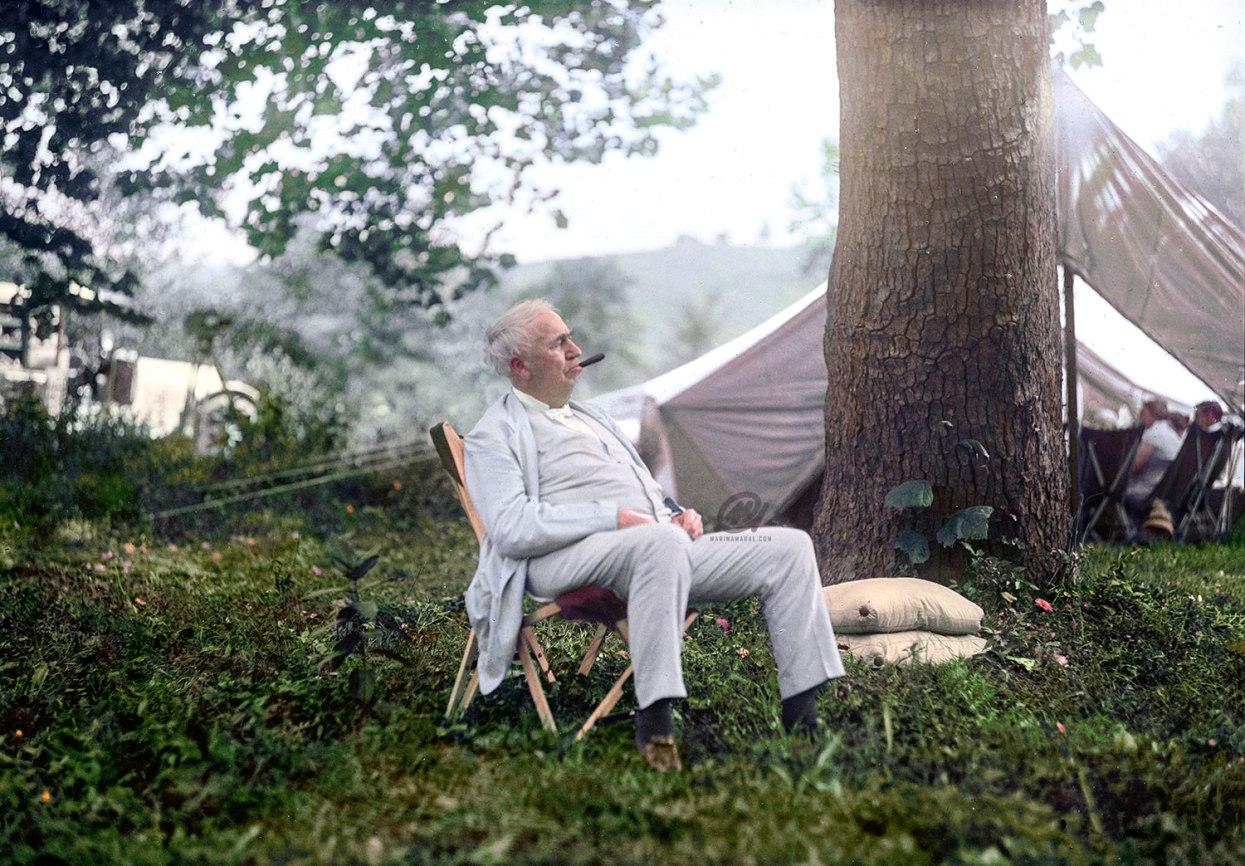 "Thomas Edison Relaxing on a ""Vagabonds"" Camping Trip, 1921."