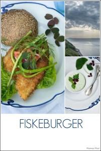 Fiskeburger med urtecreme og syltede rødløg. Opskrift fra Marinas Mad.