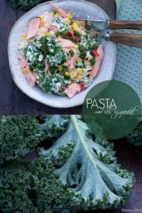 Opskrift på pasta med laks og grønkål