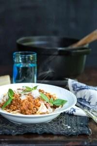 Spaghetti med kødsovs. Opskrift