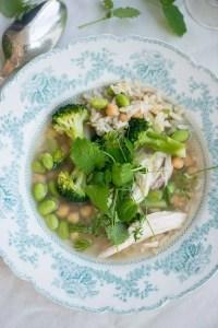 Hønsekødssuppesuppe med ris. Opskrift