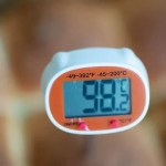 Et bagetermometer viser 98,2 C