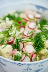 Gammeldags kold kartoffelsalat i en musselmalet skål. På toppen radiser og purløg