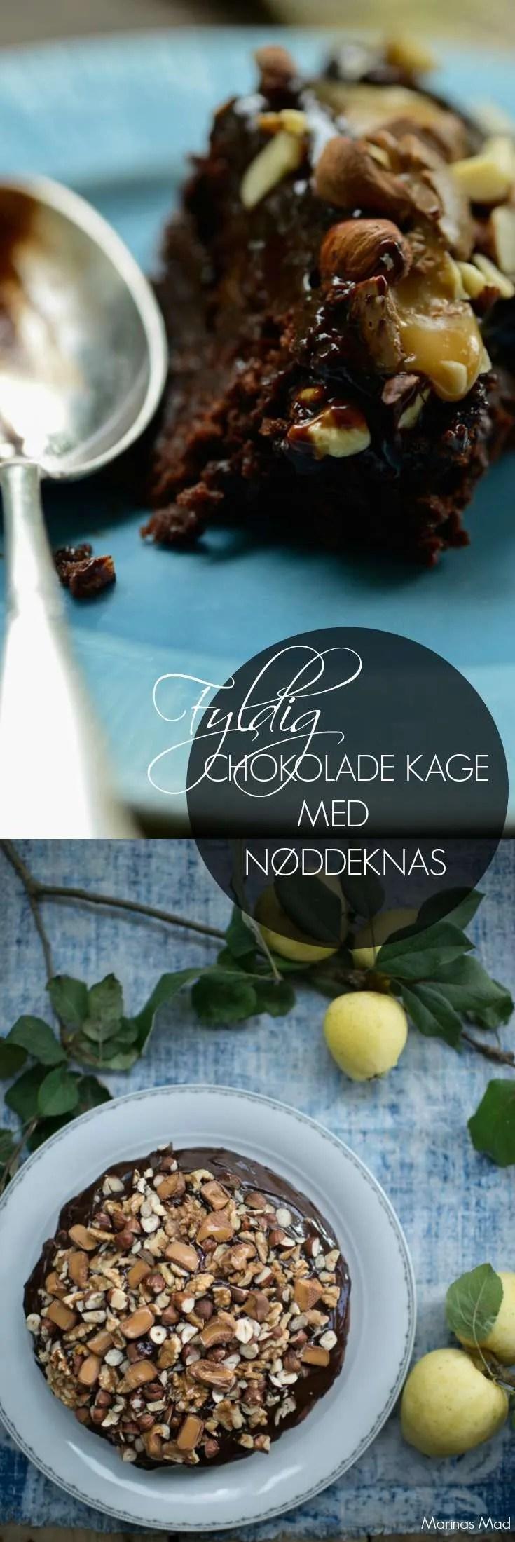 Denne skønne chokoladekage er bagt med æblemos og toppet med nøddedrysset chokoladeganache. Dejlig gæstekage der også kan bruges som dessert. Kage opskrift fra Marinas Mad.