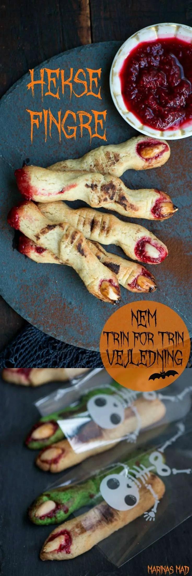 Heksefingre er den klassiske Halloween småkage og de klamme fingre er overraskende nemme at lave helt uden form eller mærkelige ingredienser. SE den nemme DIY hos Marinas Mad og bliv klar til Halloween fest