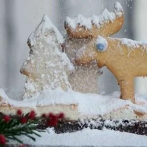 Opskrift på lækker julebrownie pyntet som snelandskab. Så fin til julehyggen eller sammenskudsgildet