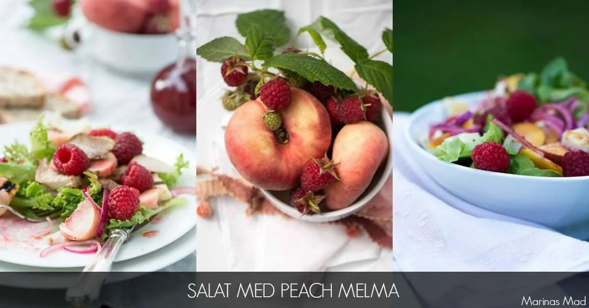 Salat med fersken og hindbær