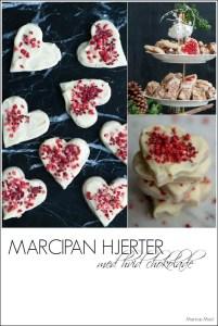 Marcipan hjerter. Nem opskrift med hvid chokolade