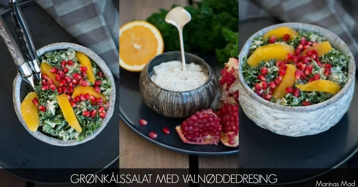 Grønkålssalat med valnødder, appelsiner og granatæblekerner. Salat opskrift fra Marinas Mad