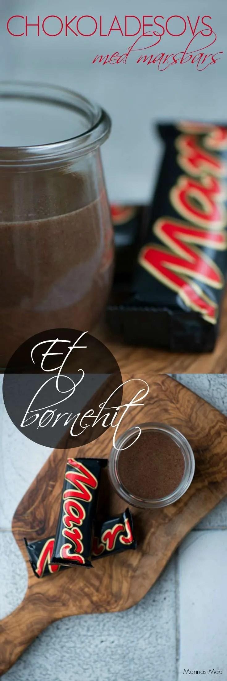 Det var i New York jeg lærte at lave chokoladesovs af marsbars, men jeg har aldrig set det i Danmark. Chokoladesovsen smager skønt og er nem at lave og jeg tør næsten garanterer at dine børn vil elske den. Smager dejligt både til is, pandekager og desserter. Opskrift fra Marinas Mad.