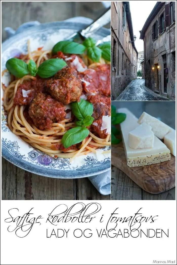 Spis som Lady og Vagabonden. Opskrift på lækre saftige kødboller i tomatsovs fra Marinas Mad