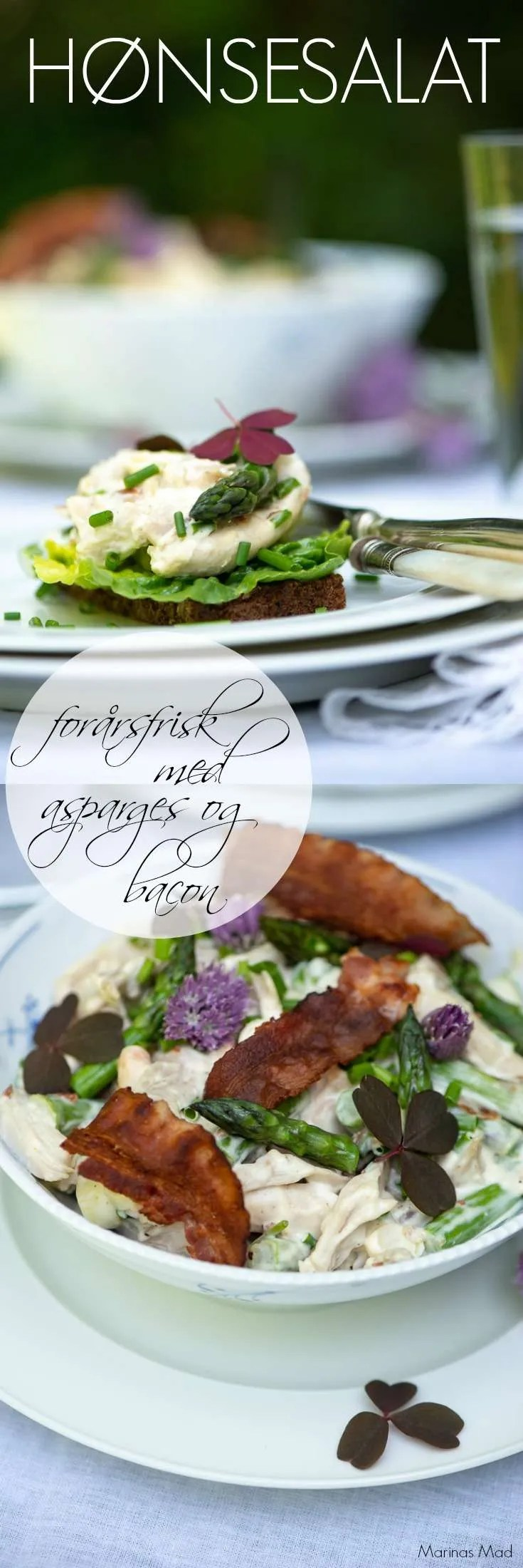 Hønsesalat er en af mine absolutte yndlinge fra det danske frokostbord. Denne version er frisk og lækker med grønne asparges og bacon. Opskrift på frokostret fra Marinas Mad