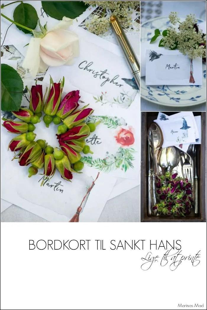 Bordpynt til Sankt hans: bordkort og små kranse