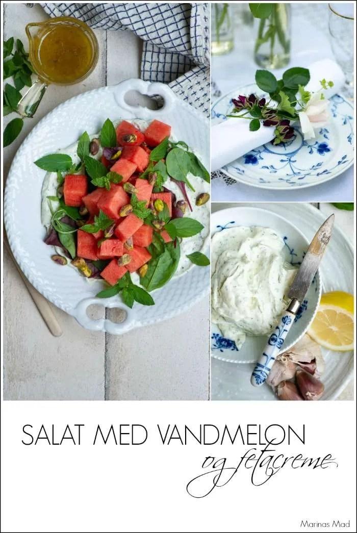 Sommer salat med vandmelon, feta creme og mynte.