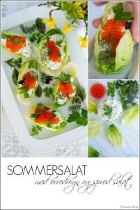 Påske forret med sommersalat, ørredrogn og friske krydderurter.