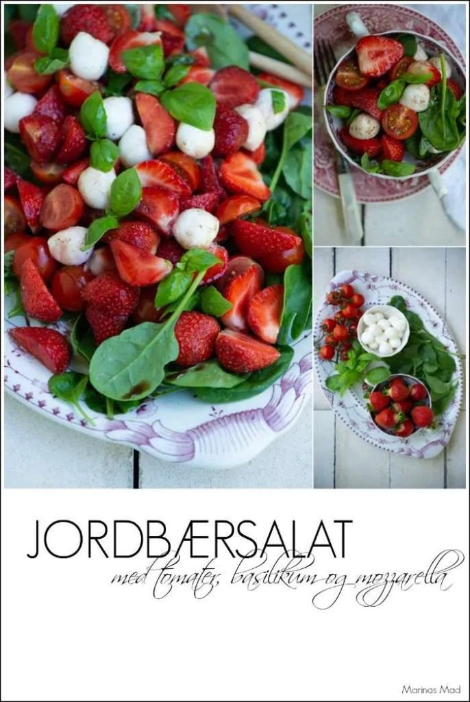 Opskrift på jordbærsalat med tomater, basilikum og mozzarella