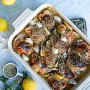 Opskrift på kyllingelår med rosmarin, citron og hvidløg