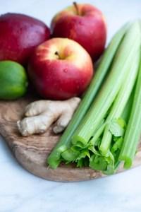 Bladselleri og æbler til koldpresset juice