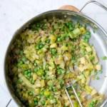 grøntsager med ærter til frittata