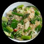 Fried rice med asparges opskrift