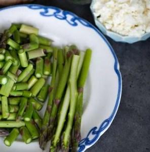 Billet af de forberedte asparges