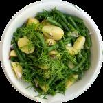 Kartoffelsalat med grønne bønner opskrift