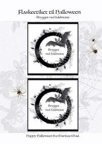 Udskriv Halloween etiket med fuldmåne tekst