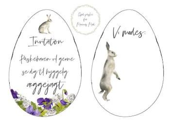 Udskriv invitation til æggejagt