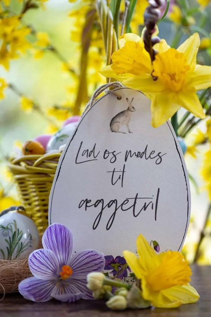 Invitationen til æggetril er bundet på en kurv med påskeæg