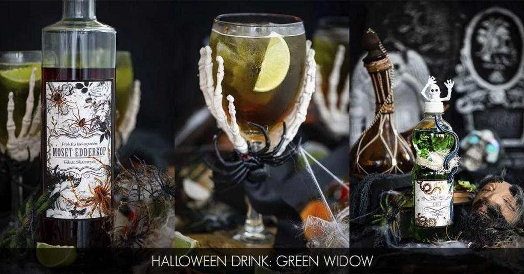 Opskrift på Halloween drinken Green Widow