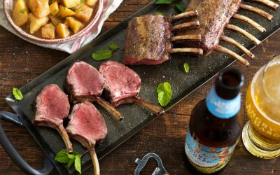 Angry Orchard's – Oven Roasted Lamb Rack with Cider, Apples, and Mint