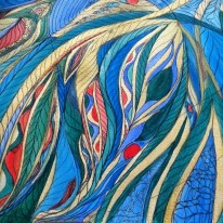 (drawing of 2015) those colors...THOSE colors... THAT movement...ThAT gracious motion... of flowing water... of sleeping beauty... waving texture of trance dance... trance flow... let go... flow... surrender... and wave... be the wave... the energy.... rhythmic... echoing...