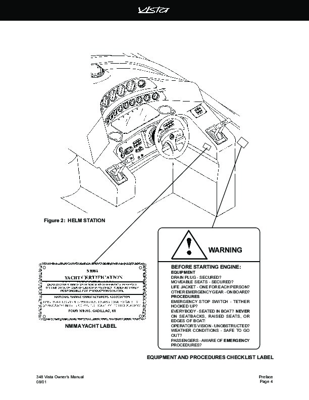 2000-2004 Four Winns Vista 348 Owners Manual