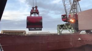 MV CLIPPER TERMINUS discharging grain with shore gear at port of morehead city