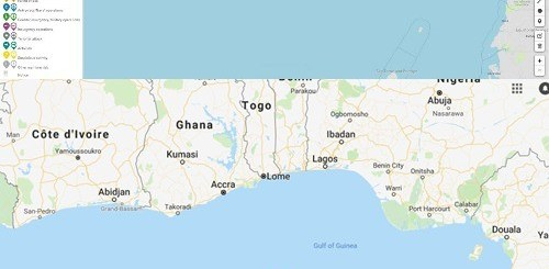 Reported Pirates areas in Gulf of Guinea