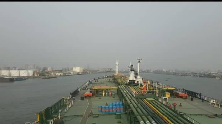 Bunkering operation in port Doha, Qatar,Oil tanker ship ( for oil Bunker)