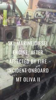 SKL marine diesel engine, after affected by fire incident onboard MT Oliva II