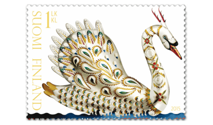 finland-suomi-stamps-posti-2015-stamp-issue-collectorzpedia-golden-swan-self-adhesive-1st-class-stamp
