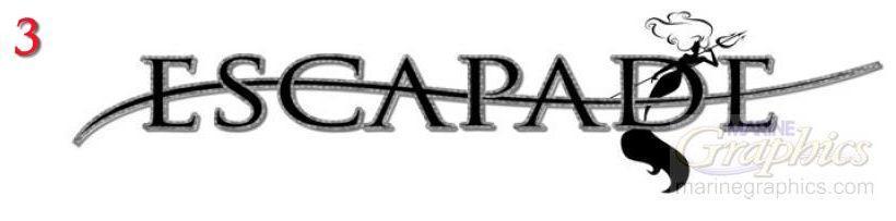 Escapade boat lettering
