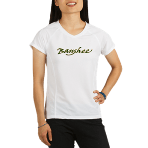 Womens Performance T with boat name