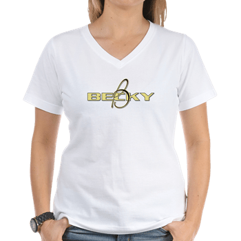 Womens V-Neck Shirt with boat name