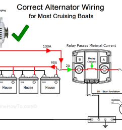 on a cruising boat with a large house bank and small start or start reserve bank the best way to wire an acr is to have the alternator charge the house  [ 1148 x 825 Pixel ]