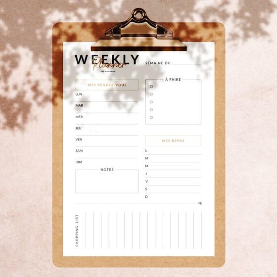 Weekly planner à imprimer