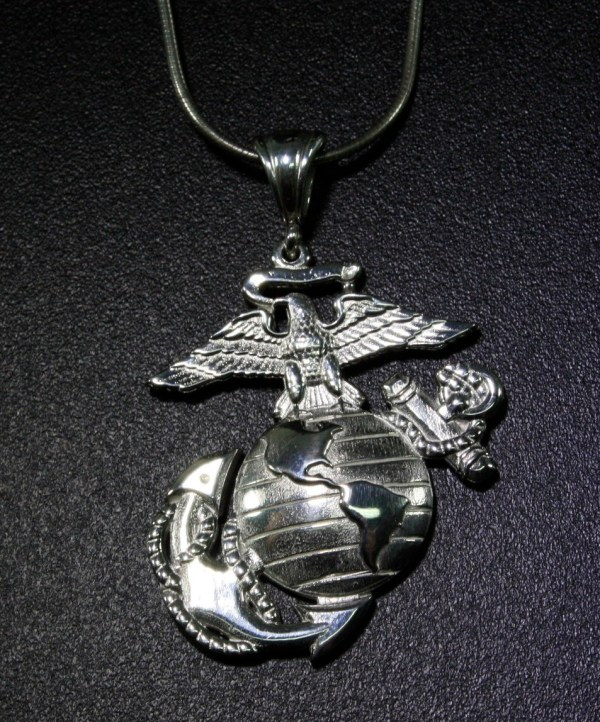 Necklace Solid Eagle Globe And Anchor