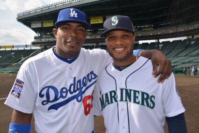 YasielPuig and his buddy Robinson Cano Ben Platt/MLB.com