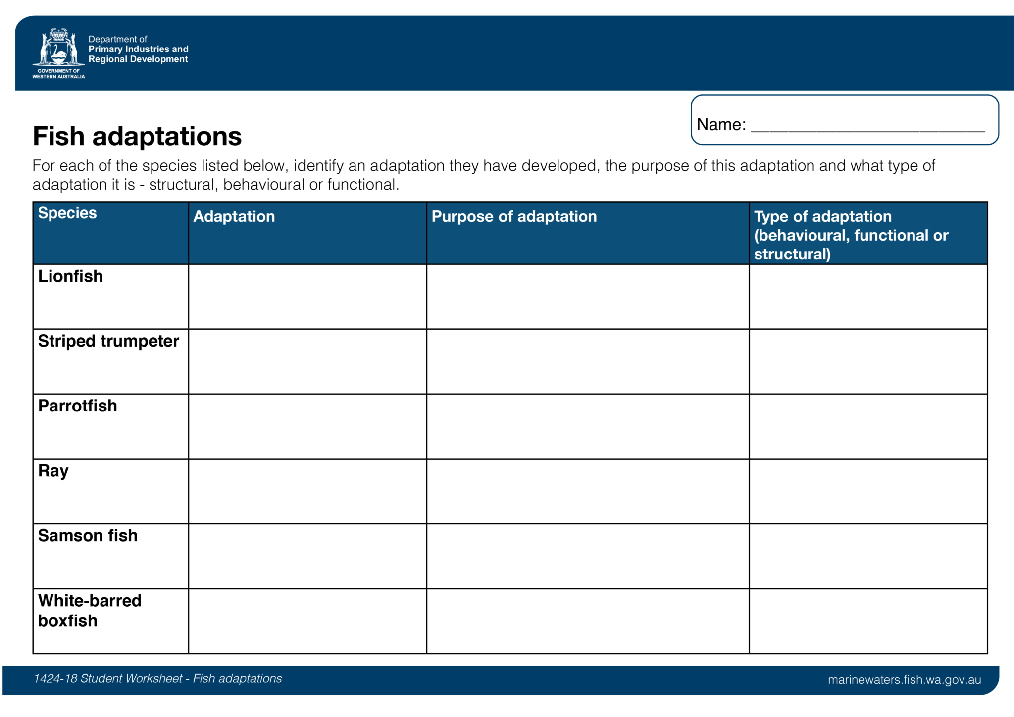 Student Worksheet Fish Adaptations Department Of