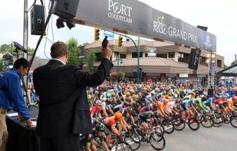 MARIO BARTEL PHOTO Gary Mauris, the president of Dominion Lending Centres, fires the starters pistol to start the men's race at Friday's PoCo Grand Prix.
