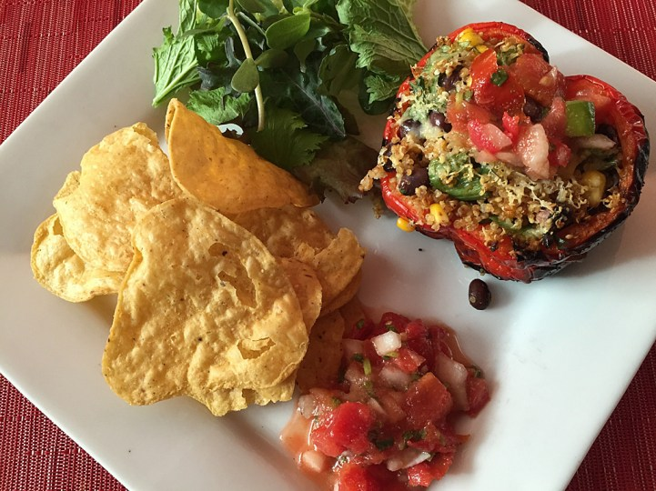 Fuel for a busy long weekend riding included this tasty Mexican dish of roasted pepper stuffed with quinoa, beans, roasted corn and green onions.